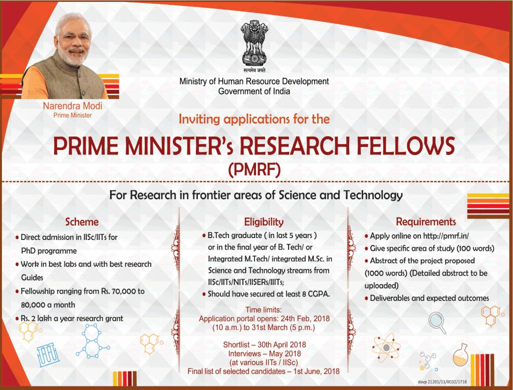 ias4sure.com - Prime Minister's Research Fellows (PMRF) Scheme